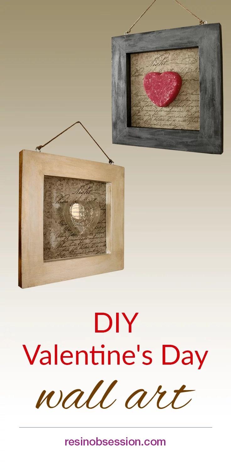 DIY Valentine's Day resin wall art