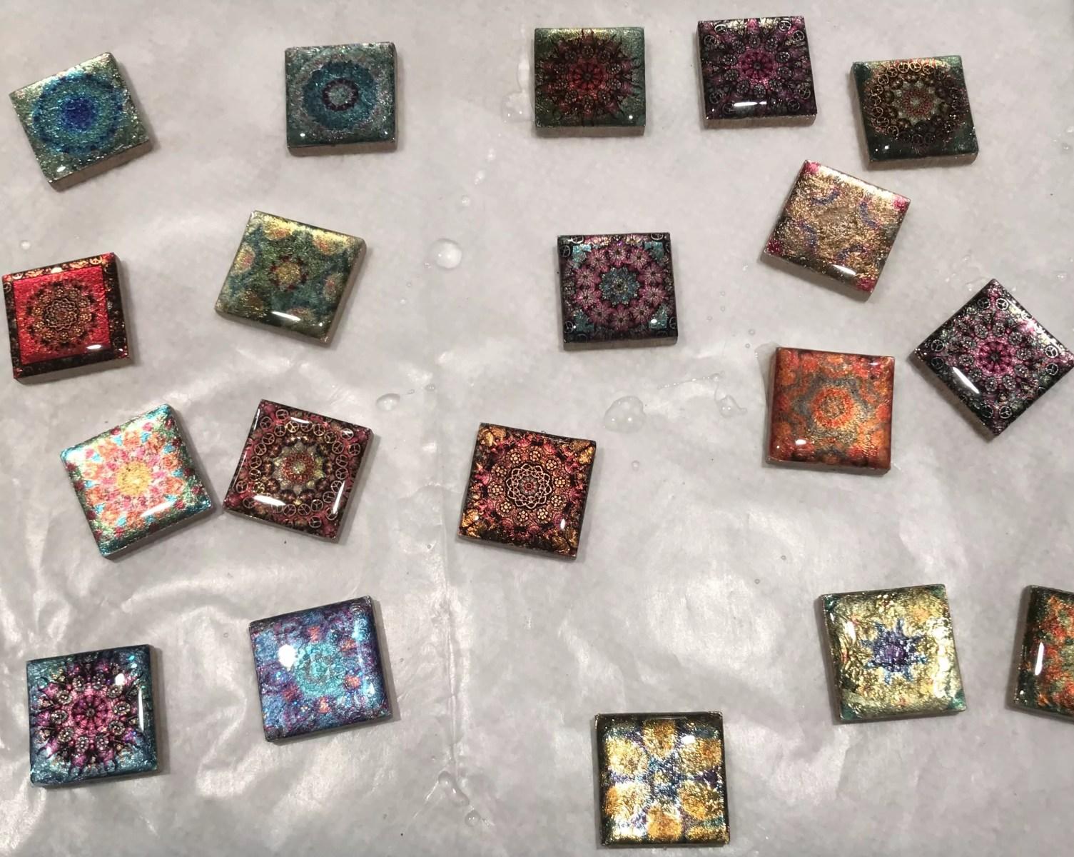 resin mandala pendants