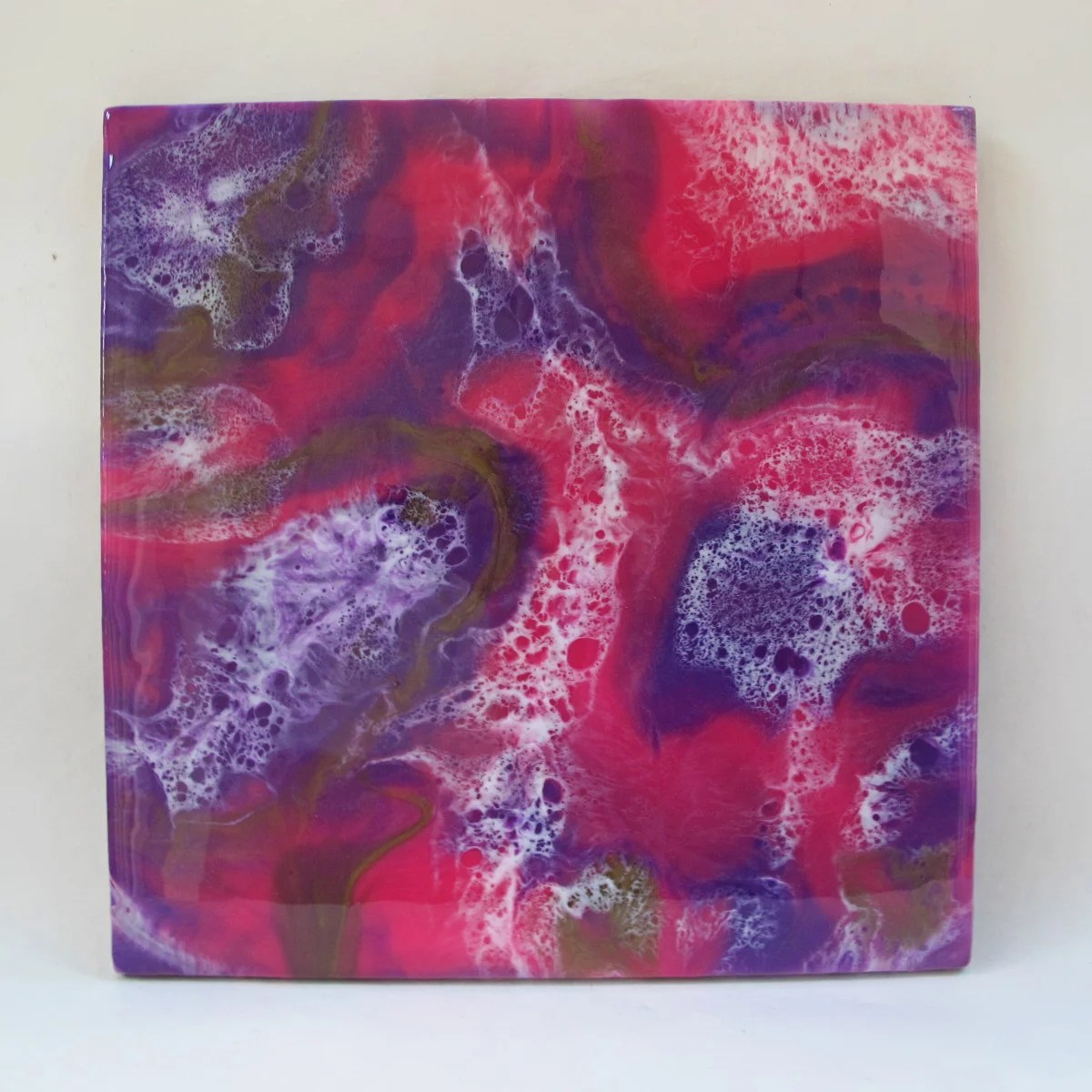 resin painting direct pour with cells