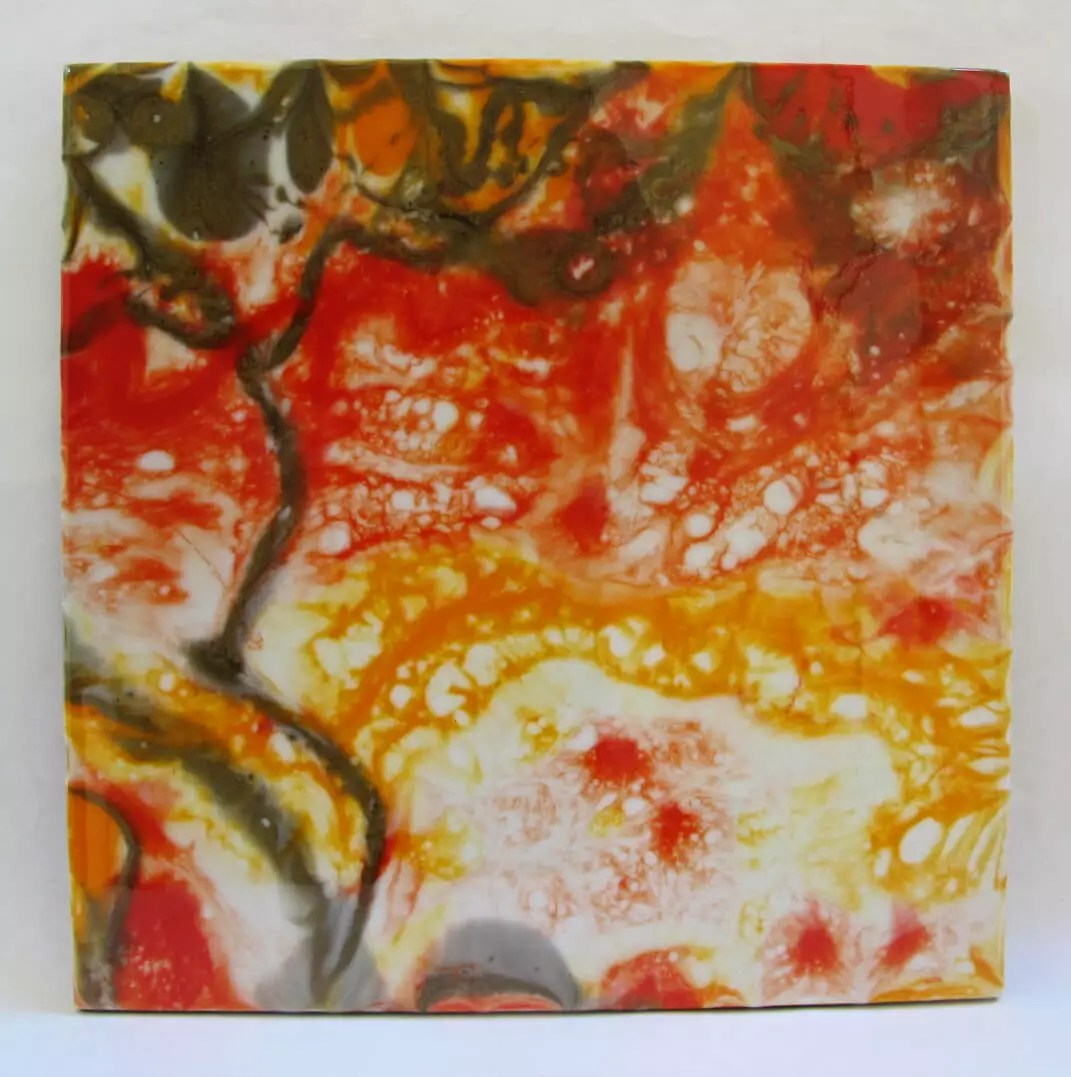 resin painting direct pour with paint