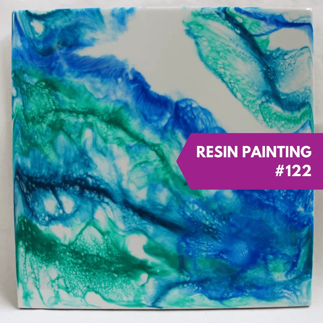 resin painting blue green teal