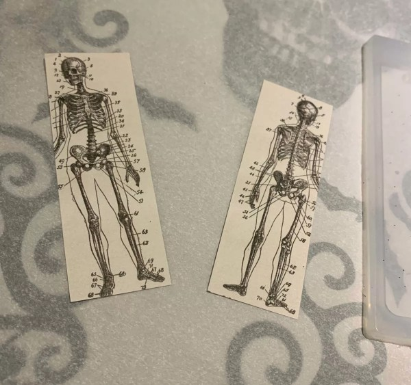 skeleton papers for resin bookmark