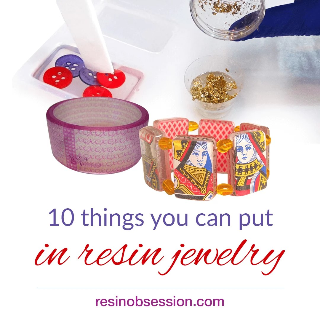 what can I put in resin jewelry
