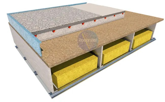 Resother EPS R insulation laid on steel joist timber floors