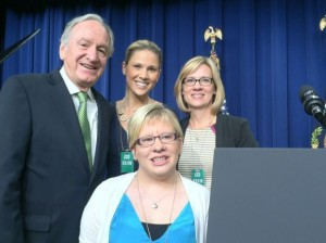 Em Hillman celebrating the signing of the Workforce Innovation and Opportunity Act (WIOA)