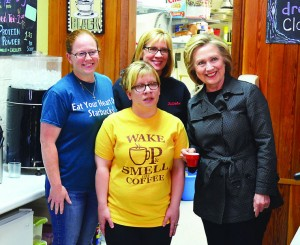 Presidential candidate Hillary Clinton visit Em's Coffee Co.