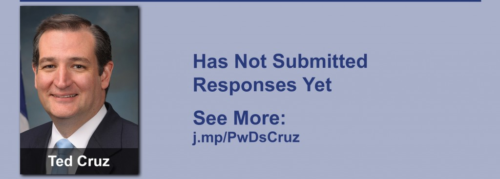 Ted Cruz has yet to submit responses to the questionnaire but click the image to see our coverage of his disability conversations.
