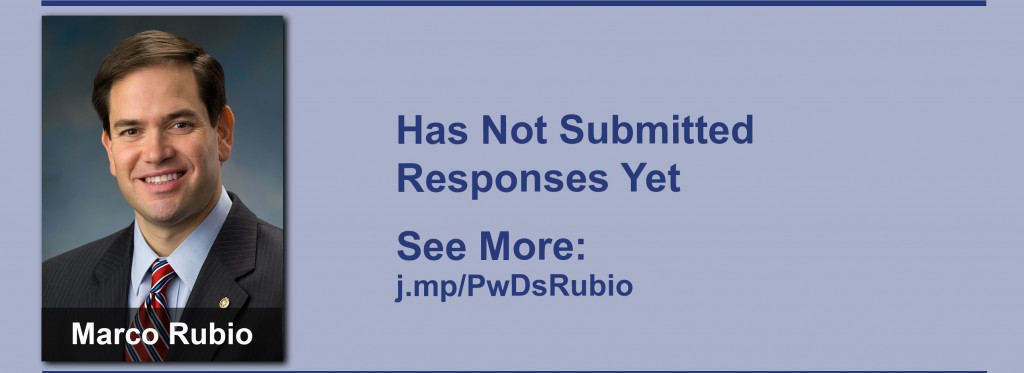 Marco Rubio has yet to submit responses to the questionnaire but click the image to see our coverage of his disability conversations.