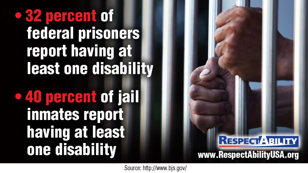 32 of federal prisoners report having at least one disability. 40% of jail inmate report having at least one disability. Source: http://www.bjs.gov