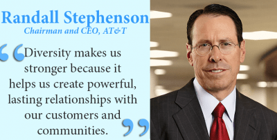 AT&T Chairman & CEO Randall Stephenson: Diversity makes us stronger because it helps us create powerful, lasting relationships with our customers and communities.