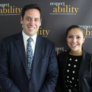 Gideon Culman with RespectAbility Fellow Brilynn Rakes posing and smiling for a photo