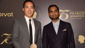 Aziz Ansari and Alan Yang posed smiling