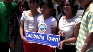 """The unveiling of """"Cambodia Town"""" official street sign in Long Beach, California"""