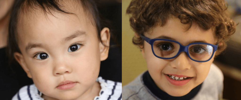 Two separate images of children with disabilities smiling at the camera
