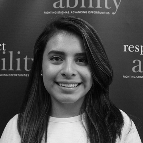 Head shot of Daniela Nieves in front of the Respectability banner