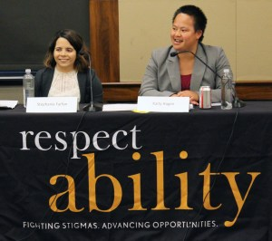 Stephanie Farfan and Kaity Hagen behind a table with the respectability logo on it