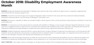 Screenshot of Michigan proclamation for NDEAM 2018