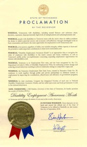 Image of Tennessee proclamation for NDEAM