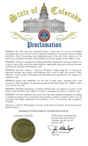 Image of proclamation from Colorado celebrating NDEAM