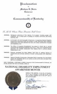 NDEAM proclamation from Kentucky