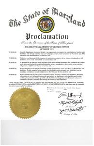 Image of Maryland NDEAM proclamation