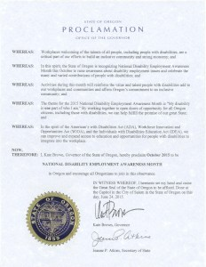 Image of Oregon's NDEAM proclamation