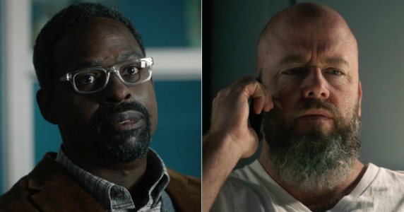 Photos of Randall (Sterling K. Brown) and Toby (Chris Sullivan) on This Is Us