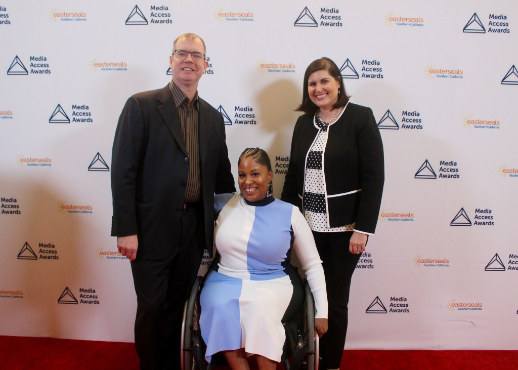 Delbert Whetter, Tatiana Lee and Lauren Appelbaum on the Red Carpet at the Media Access Awards