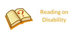 Open book with question mark on right side page. Text: Reading on Disability