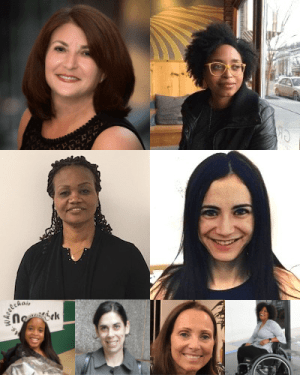 individual headshots of 8 speakers at the event for mothers