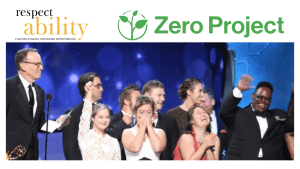 Jonathan Murray and the Cast of Born This Way winning an Emmy Award. Logos for RespectAbility and the Zero Project