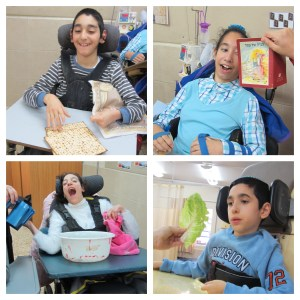 Four images of children with disabilities participating in ALEH's Mock Seder