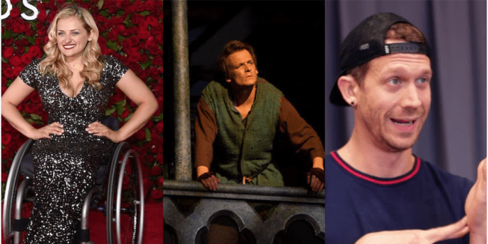 Individual photos of Ali Strokeron the red carpet, John McGinty in character on stage in HUNCHBACK, and Russell Harvard signing something in front of a curtain