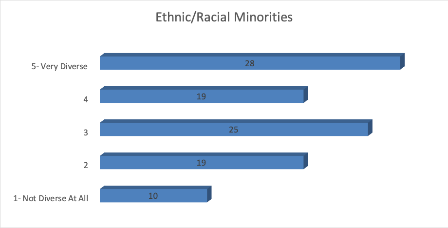 Bar graph with responses to Question 6. 1 - Not Diverse At All - Chosen by 10 2 - Chosen by 19 3 - Chosen by 25 4 - Chosen by 19 5 - Very Diverse - Chosen by 28