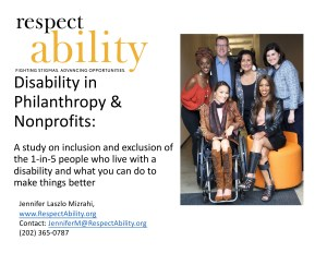 Photo of diverse people with disabilities smiling together. RespectAbility logo. Text: Disability in Philanthropy & Nonprofits: