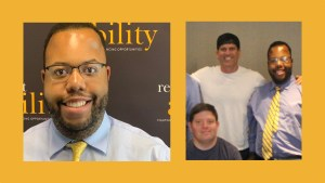 Photos of Anthony Brown smiling in front of the RespectAbility banner and Anthony Brown with Zack Gottsagen and Tyler Nilson of The Peanut Butter Falcon