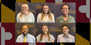 6 Maryland Fellows in individual portraits smiling in front of the RespectAbility banner. Maryland flag in background