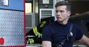 Oliver Stark on 9-1-1 sitting by a firetruck