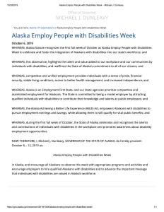 Proclamation for Disability Employment Awareness Month in Alaska
