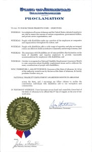 Proclamation from Arkansas Governor Asa Hutchinson for Disability Employment Awareness Month