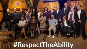 Speakers and guests at Bank of America's Southern California DAN event smiling together. Text: #RespectTheAbility