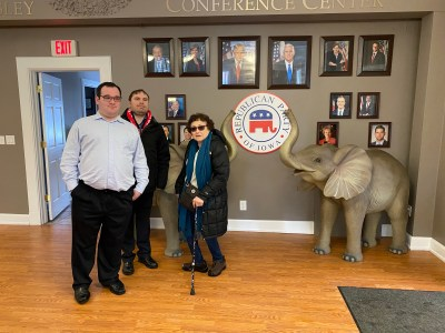 Ila Eckhoff, James Trout and Eric Ascher at the Republican Party headquarters in Des Moines Iowa