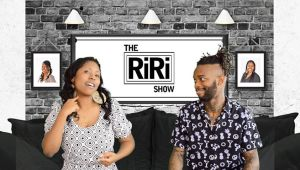 La'Rina Carolina and Miggy having a conversation in ASL on the set of The RiRi Show