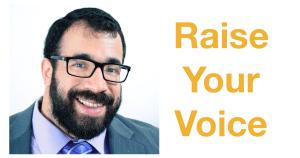 Matan Koch headshot. Text: Raise Your Voice