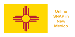 New Mexico State flag. Text: Online SNAP in New Mexico