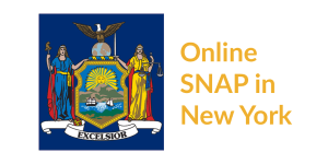 New York state flag. Text: Online SNAP in New York