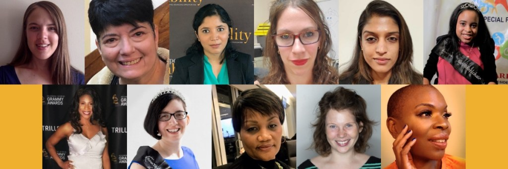Individual headshots of 11 women with disabilities smiling