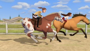 animated female characters racing on their horses - including one who has a strap keeping her in