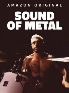 Riz Ahmed shirtless at a drum set in the poster for Amazon Original Sound of Metal