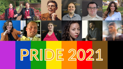Photos of 12 LGBTQ+ people with disabilities. Rainbow flag colors. Text: PRIDE 2021